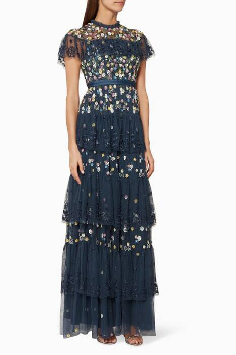 Navy Tiered Anglais Gown