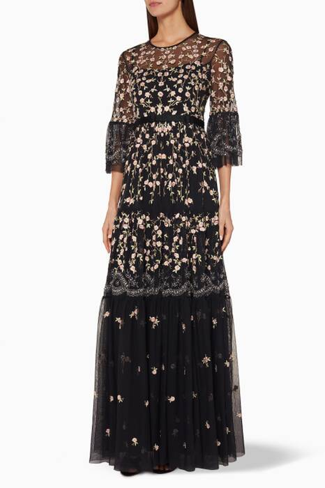 Black Climbing Blossom Gown