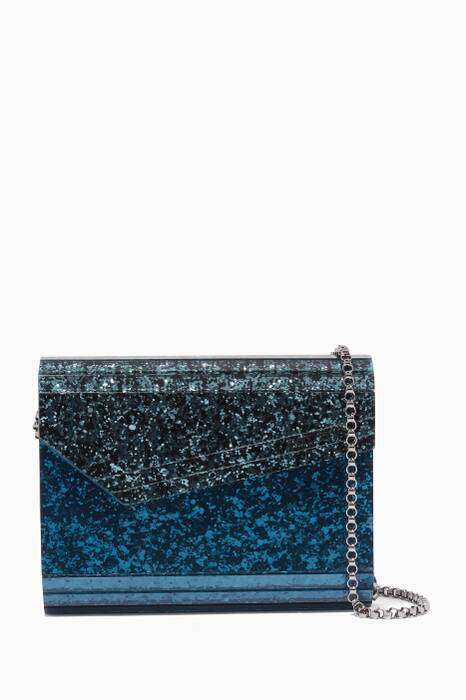 Dusk-Blue Candy Glitter Clutch Bag