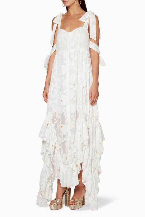 White Stephanie Frill Maxi Dress