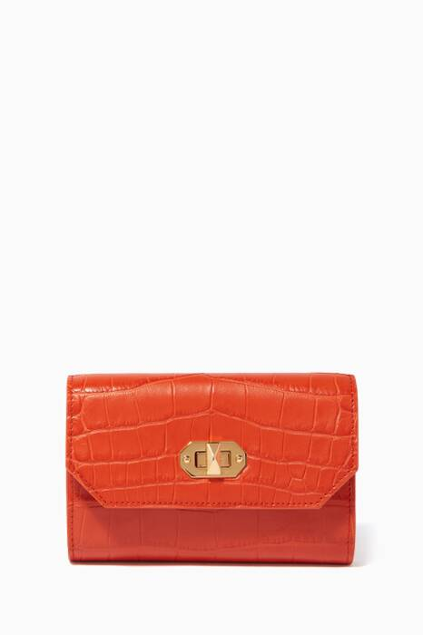 Orange Box Lock Leather Continental Wallet