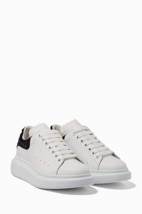 White & Black-Bead Platform Leather Sneakers