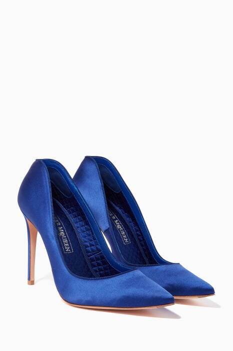 Blue Satin Heart Pumps