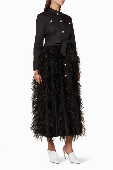Black Chocolat Feather Coat