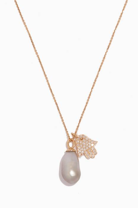 Yellow-Gold & Pearl Links Of Love Necklace