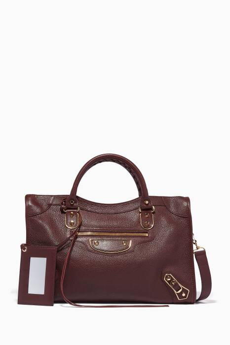 Bordeaux Metallic Edge City Medium Tote Bag