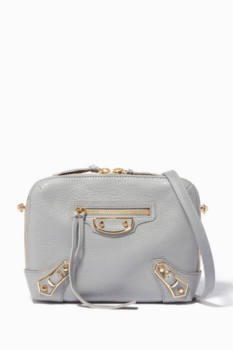Light-Grey Metallic Edge Reporter Cross-Body Bag