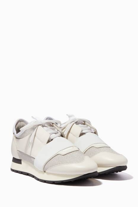 Silver & White Lurex Race Runner Sneakers