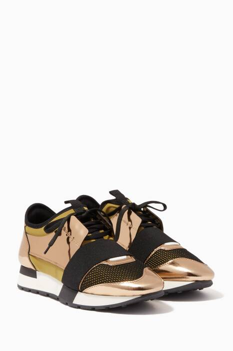 Gold Mirrored Race Runner Low-Top Sneakers