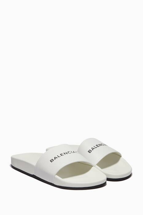 White Piscine Leather Slides