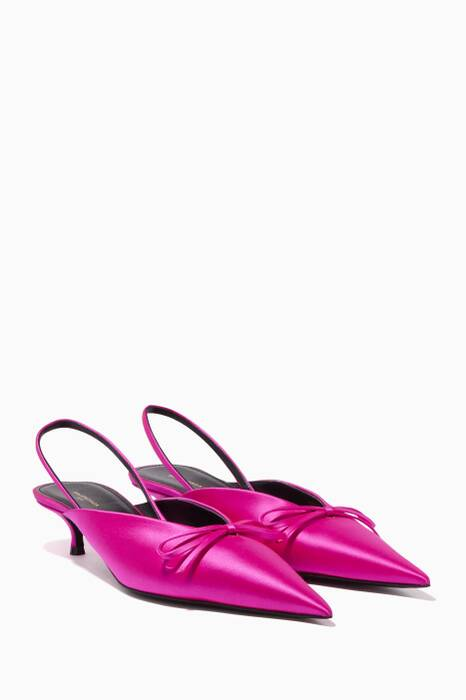 Pink Knife Satin Slingback Sandals