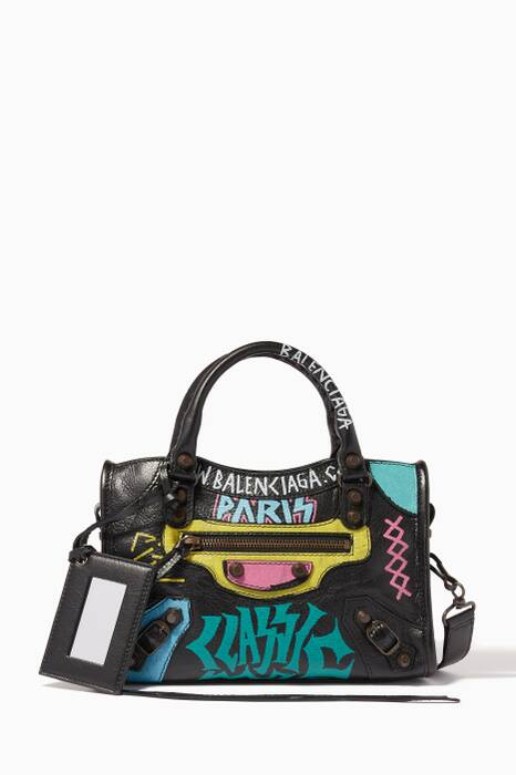 Noir Graffiti-Printed Arena Mini City Bag