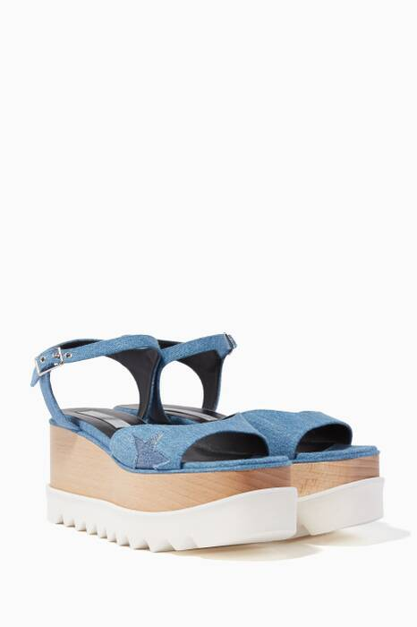 Blue Denim Elyse Star Platform Sandals