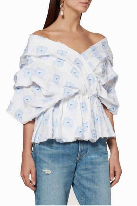 White & Blue Embroidered Marcella Top