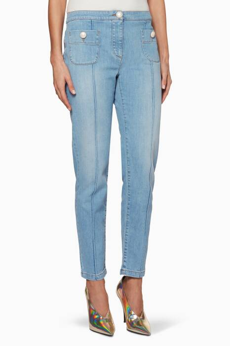 Blue Pearls Patch-Pocket Slim Jeans