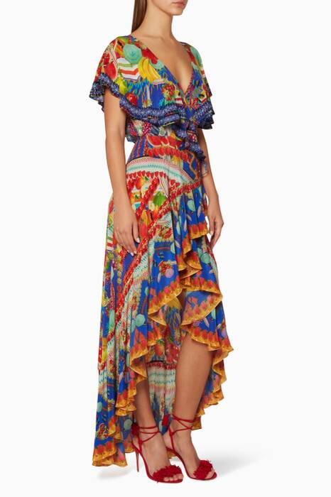 Multi-coloured Rio Riot Frill Sleeve Dress