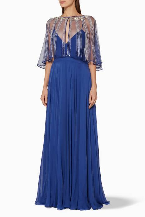 Dark-Blue Embellished Cape Gown