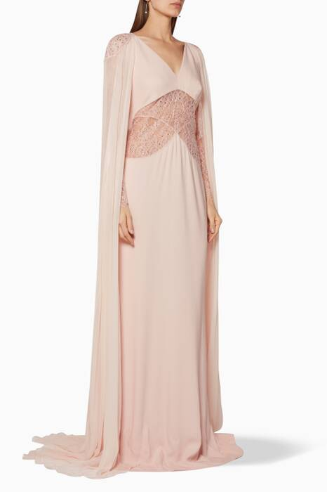 Light-Pink Long Cape Lace Gown
