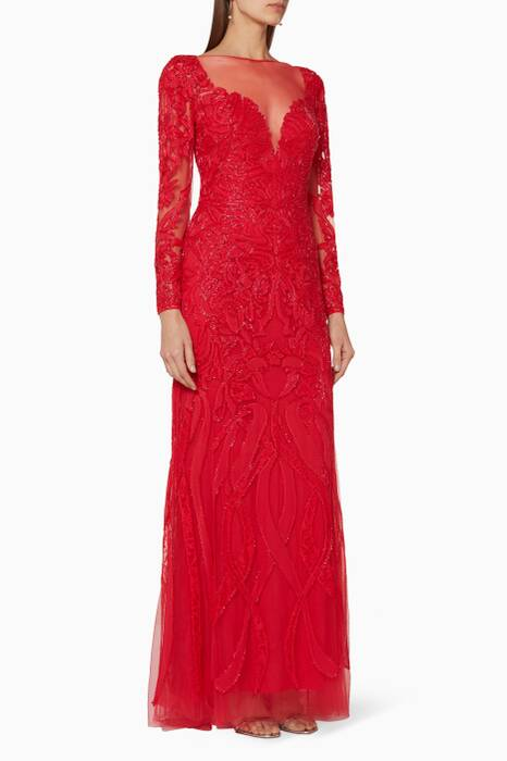 Dark-Red Long Sleeve Lace Gown