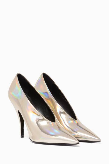 Gold Iridescent Point-Toe Pumps