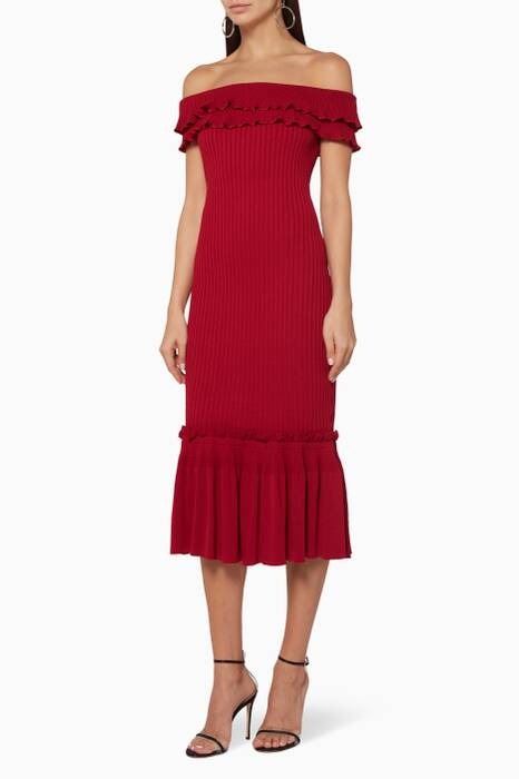 Crimson Ruffled Knit Trumpet Dress