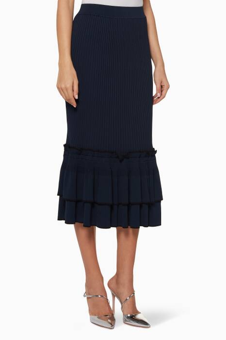 Midnight Ruffled Trumpet Skirt