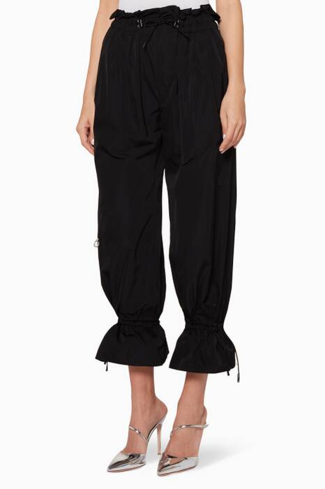 Black Rouched Taffeta Pants
