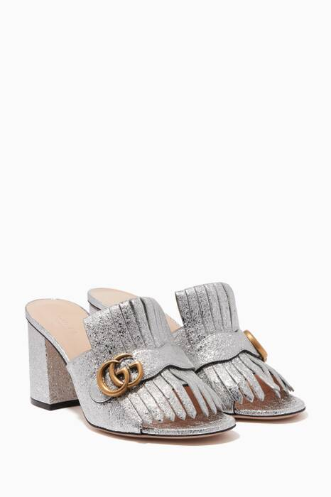 Silver Metallic Leather Mid-Heel Slides