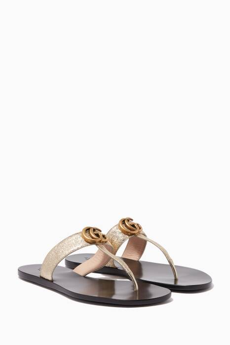 Gold Marmont GG Leather Sandals