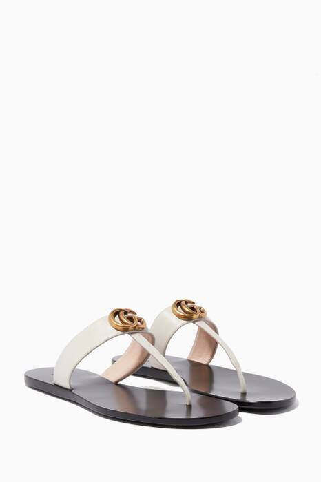 White Marmont GG Leather Sandals