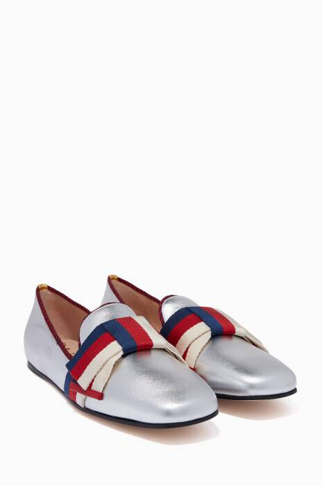 Metallic Silver Sylvie Bow Loafers