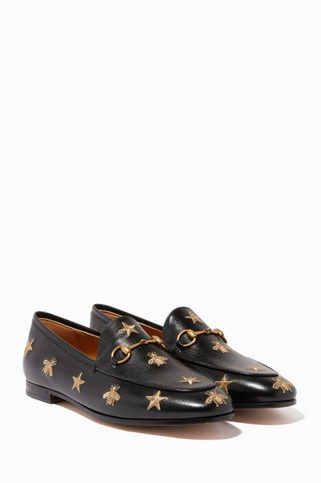 Black Embroidered Jordaan Loafers