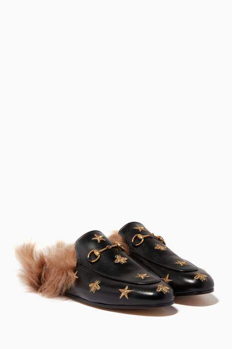 Black Embroidered Princetown Fur Loafers