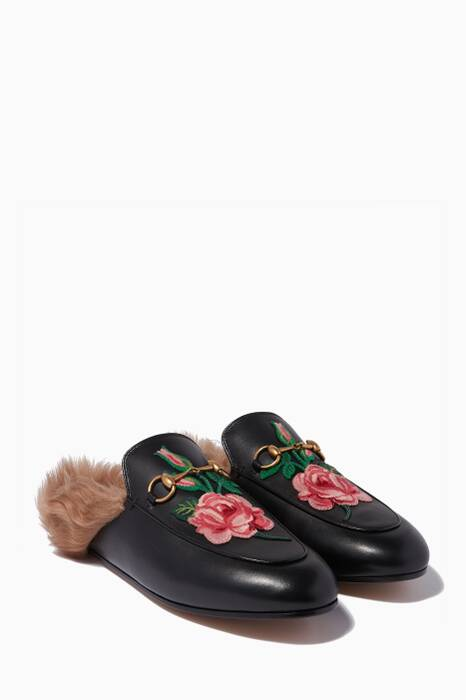 Black Rose-Appliquéd Backless Princetown Loafers