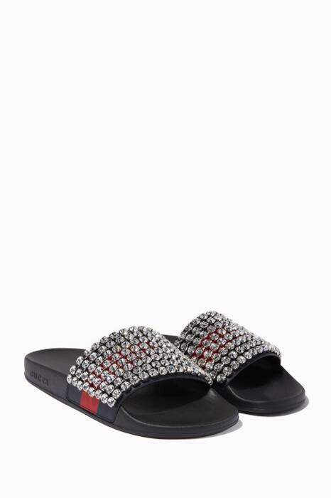 Black Crystal Embellished Pool Slides