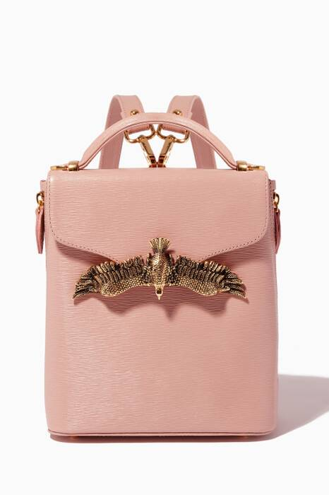 Nude Mini Lizard-Effect Leather Backpack