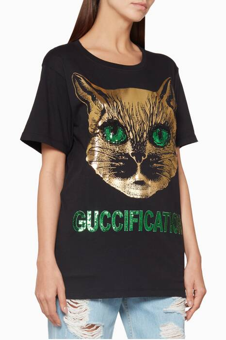 Black Sequin Embellished Guccification T-Shirt