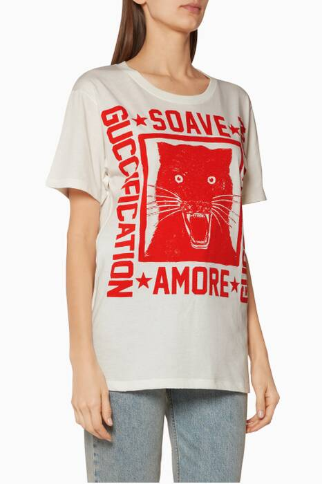 White Soave Amore Guccification Printed T-Shirt