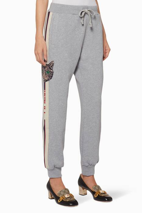 Grey Striped Cotton Jogging Pants