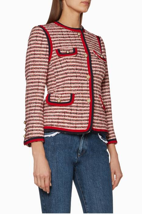 Red & White Striped Tweed Jacket