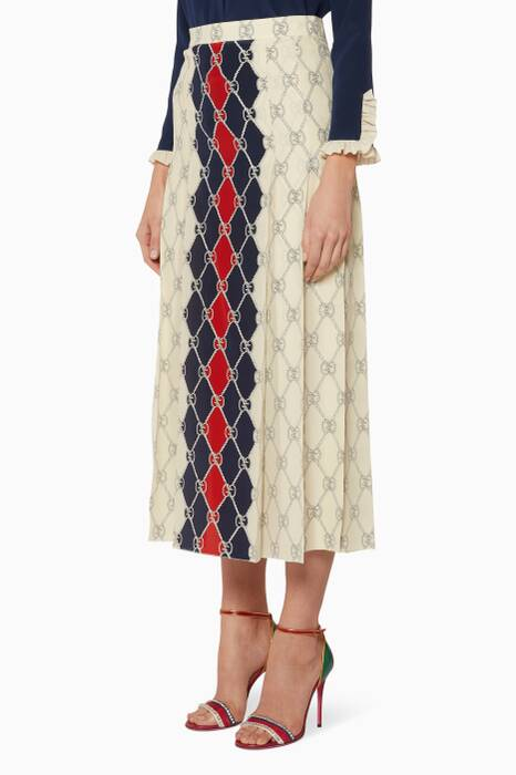 Multi-Coloured Rhombus Printed Skirt