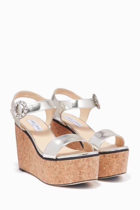 Silver Nylah Crystal-Brooch Wedges