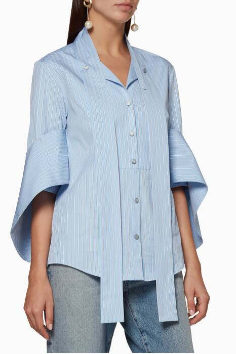 Pastel-Blue Striped Pussy-Bow Shirt