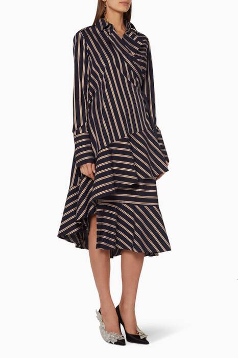 Navy, Gold & White Striped Lapel Asymmetric Dress