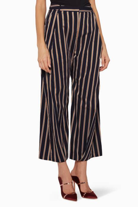 Navy, Gold & White Striped Serra Crop Pants