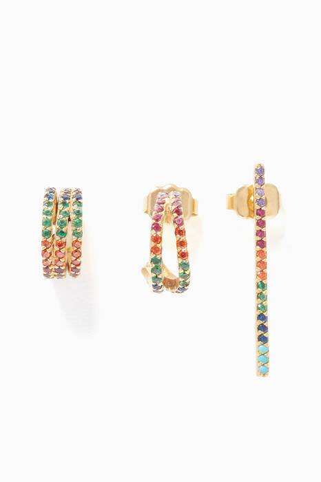 Multi-Coloured Criss-Cross Hoop Earrings