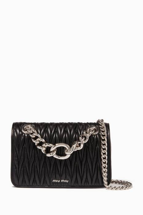 Black Medium Club Chain Shoulder Bag