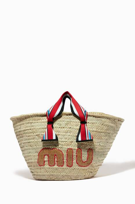 Beige Large Raffia Beach Bag