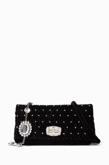 Black Matelassé-Velvet Crystal-Embellished Shoulder Bag