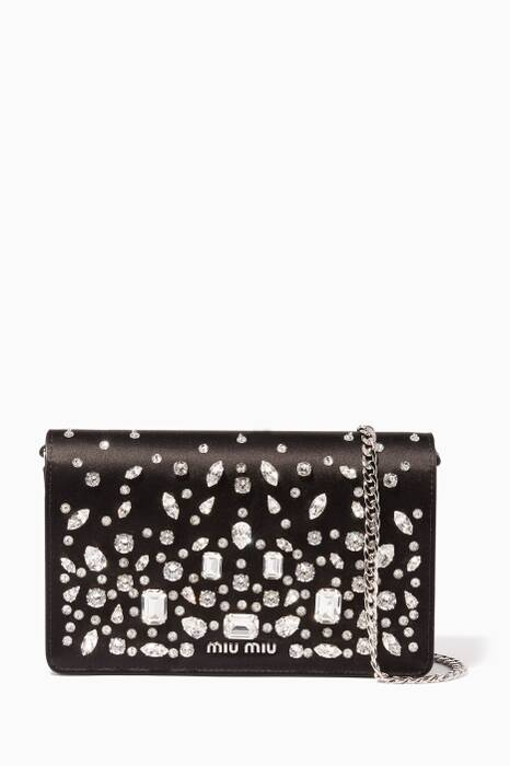 Black Satin Crystal-Embellished Cross-Body Bag